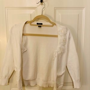 White flower detail cardigan